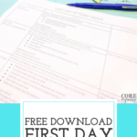 First day lesson plans on table with welcome banner