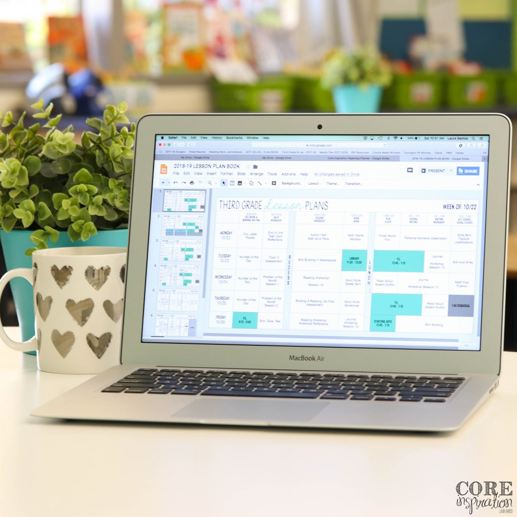Core Inspiration Digital Lesson Plan Book Paperless Planner Shown on laptop computer screen