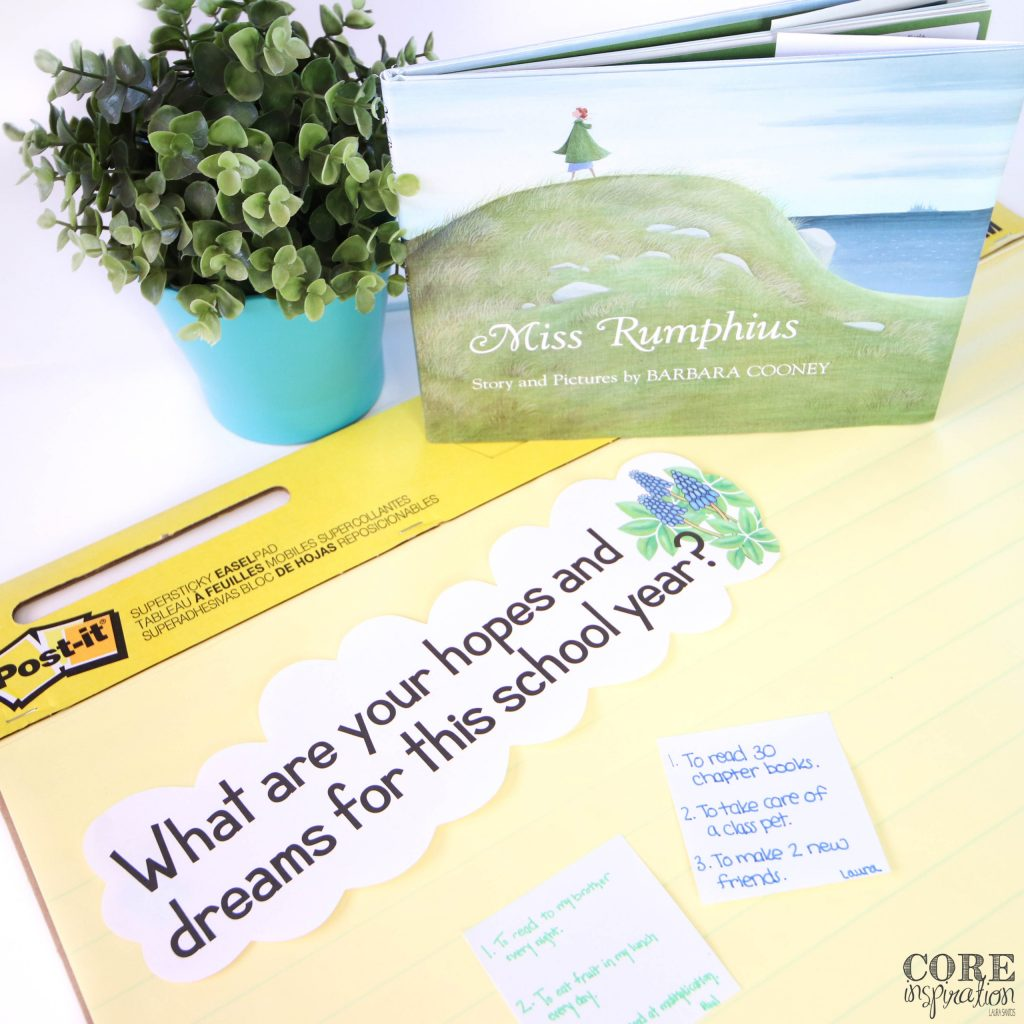 """The heading """"What are your hopes and dreams for this school. year?"""" is featured on an anchor chart next to the book Miss Rumphius, which is the perfect conversation starter for students to brainstorm their hopes and dreams for the classroom this school year."""