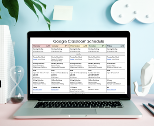 Google Classroom Distance Learning Schedule shown on laptop screen on desk