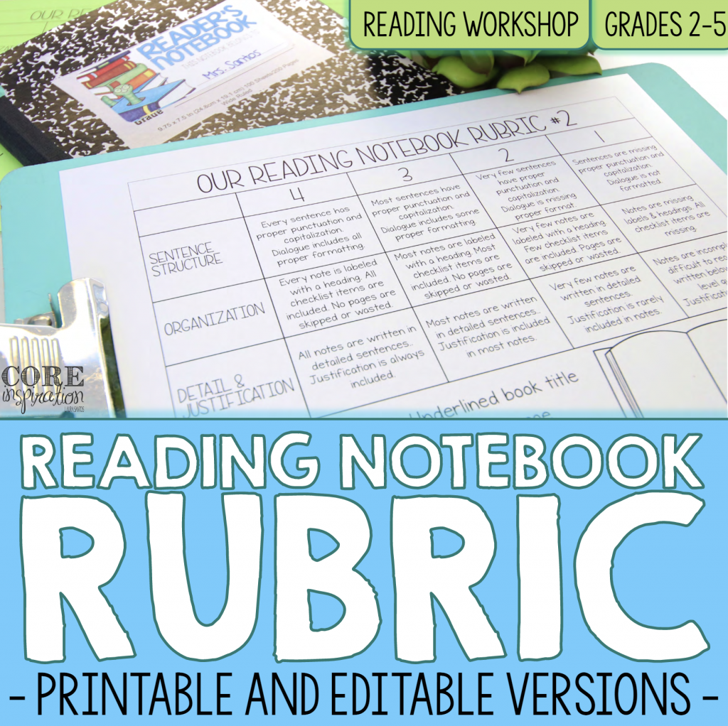 Core Inspiration Reading Notebook Rubric Resource Cover. This is a recommended resource that includes a ready-to-use rubric.