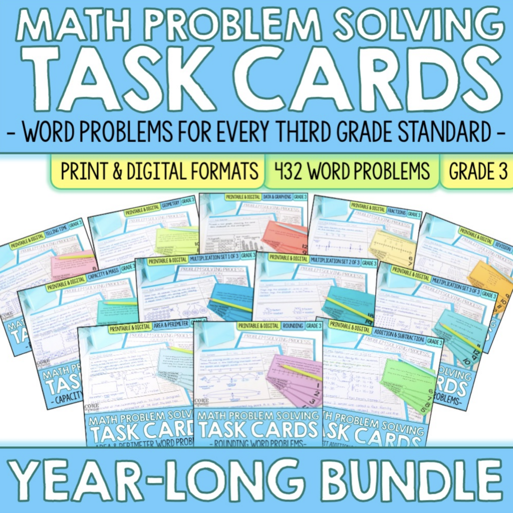 Core Inspiration Third Grade Math word Problem Task Cards Cover. This is a recommended resource that includes a ready-to-use rubric.
