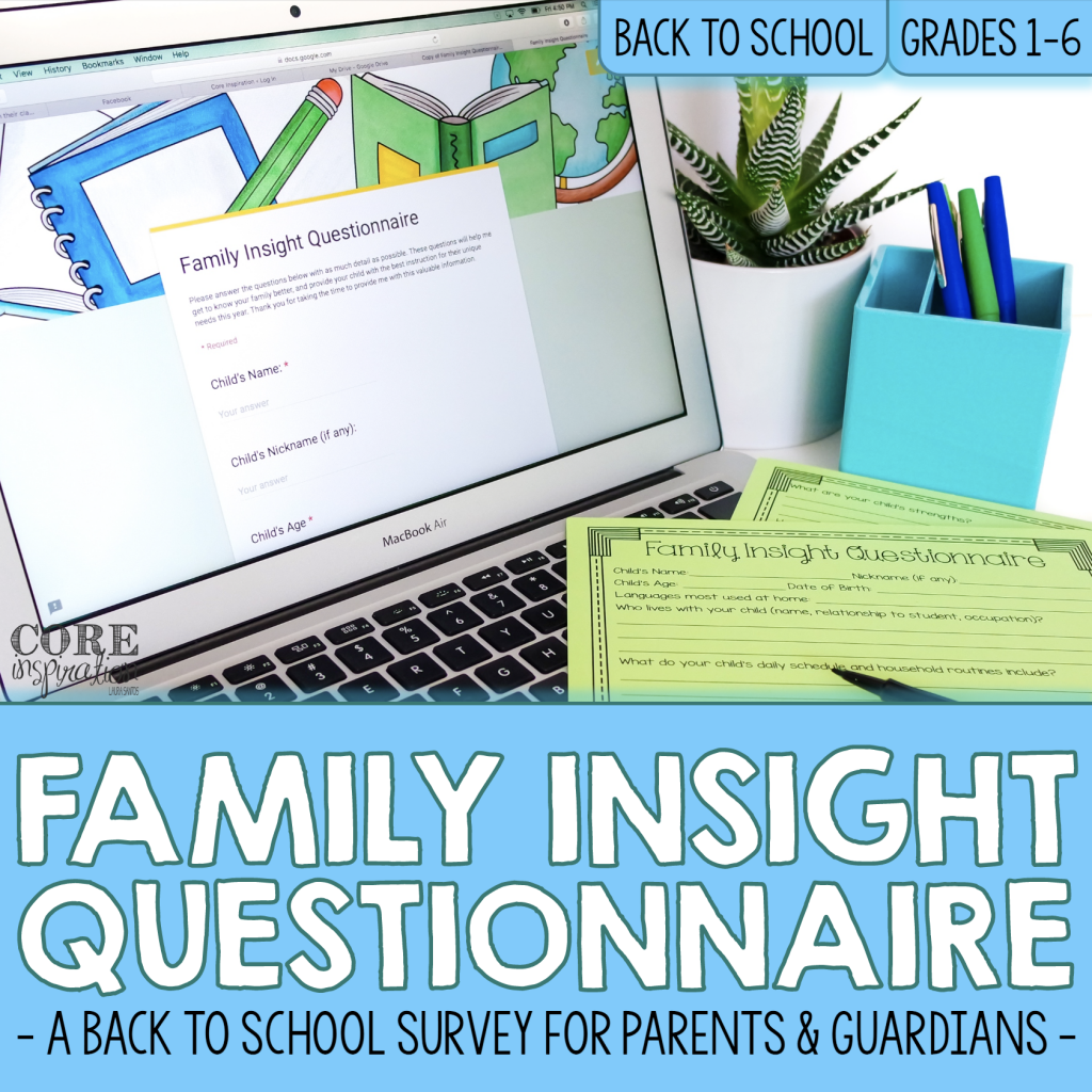 Core Inspiration Back to school Google Form Resource Cover