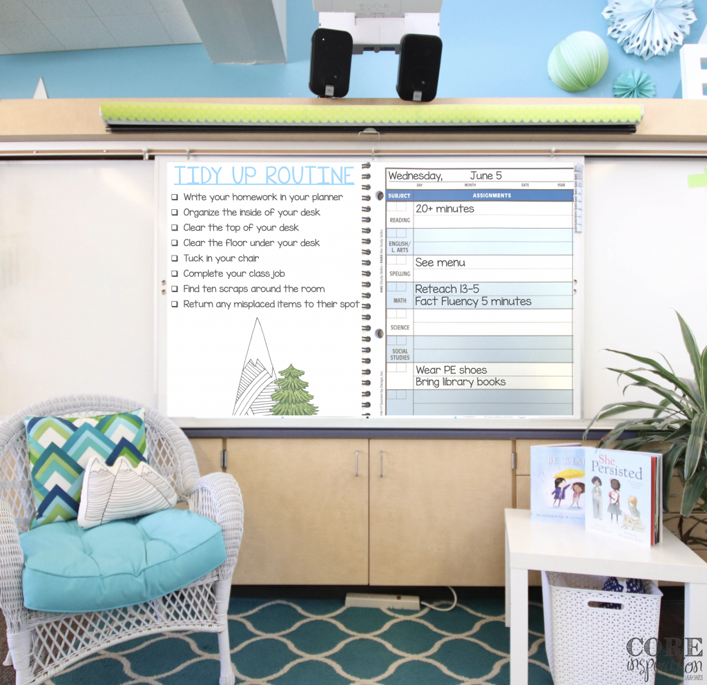 Core Inspiration Classroom Front Board with Tidy Up Time Slide Projected