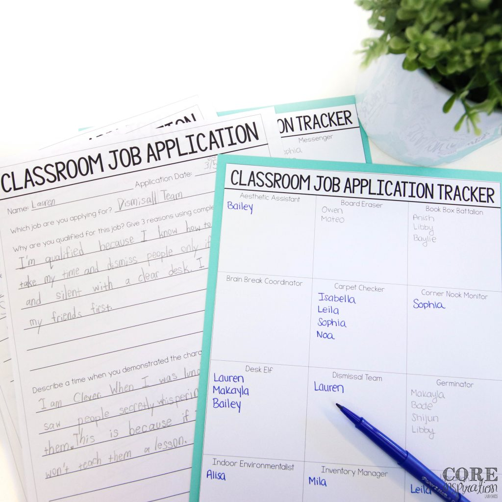 Core Inspiration classroom job application filled out for dismissal team classroom job laying on table next to teacher's job application tracker.