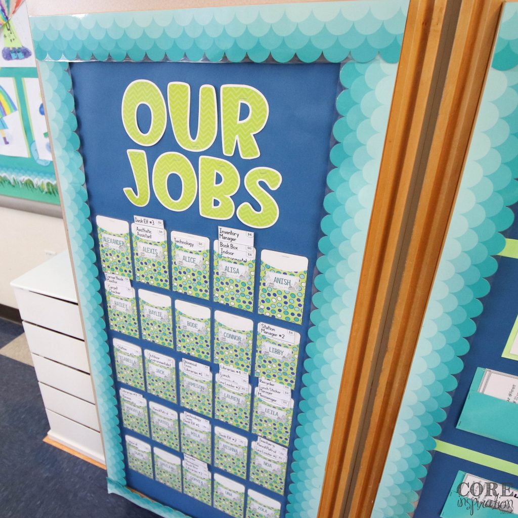 Core Inspiration classroom job board with job cards inside pockets that show student names on outside.