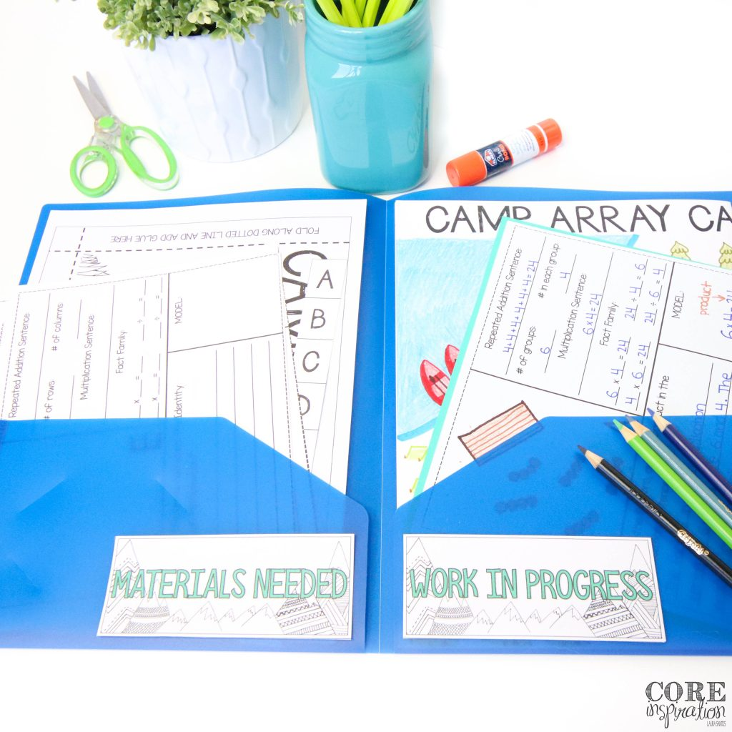 """Core Inspiration's Camp Array Multiplication Project in a blue folder with sections that read """"Materials Needed"""" and """"Work in Progress"""""""