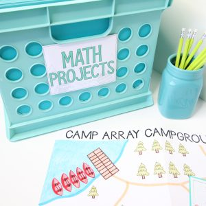 Core Inspiration Camp Array Multiplication Project Laying Next to Math Project File Bin