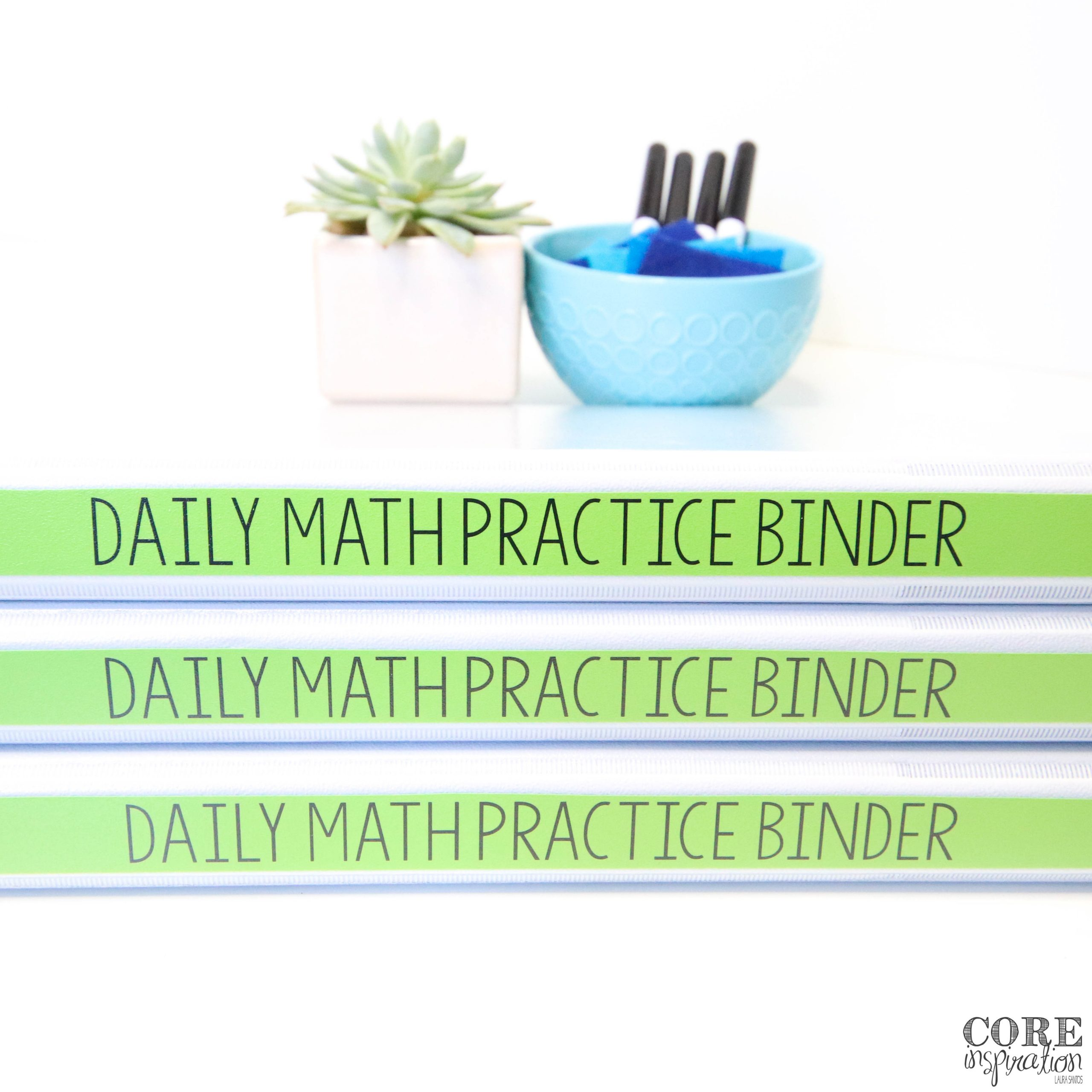 """Three binders with spines that read """"Daily Math Practice Binder"""". Succulent plant and whiteboard markers in the background."""