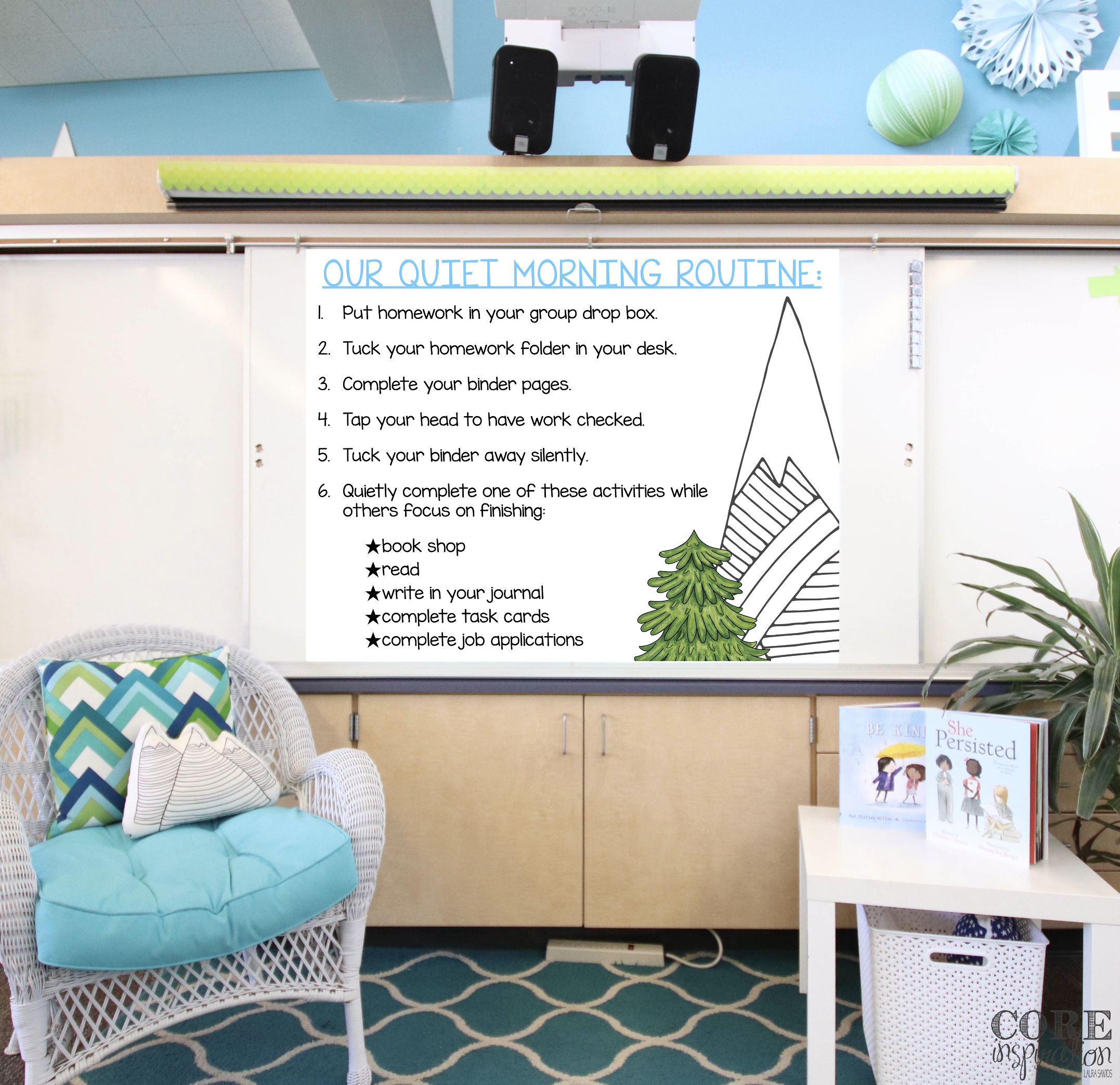 """Classroom whiteboard with """"Our Quiet Morning Routine"""" steps for students to follow projected on the board."""